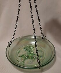 Hanging Bird Bath - Green Iridescent Glass - Frog In Pond - No Chips Or Cracks