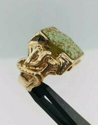 Native American 14k Yellow Gold Spiderweb Turquoise Carico Lake And Snake Ring 8.5