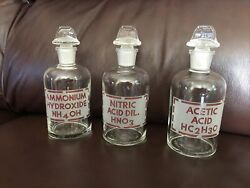 3 Vintage Etched Pyrex Chemical Apothecary Bottles And Stoppers Acid Clean And Clear