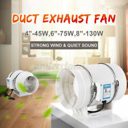 4/6/8 Inline Duct Fan Hydroponic Ventilation Extractor Vent Exhaust Air