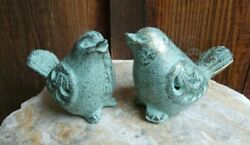 Brass Metal Birds Set Of 2 Sage Green Patina Figurines Cut Out Design Wings
