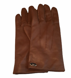 Woman#x27;s Coach Cognac Brown Soft Leather Gloves F85876 Size 8 Used $69.45
