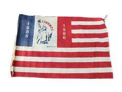 American Flag 1986 Extremely Rare Pattern 14 X 17 Statue Of Liberty 100 Years