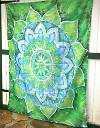 60X80 MANDALA WALL TAPESTRY BLUE amp; GREEN GORGEOUS THICK SATEEN FABRIC New