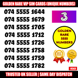Golden Vip Ultra Rare Numbers From Three Network + Xxx 5555 Year Numbers Uk