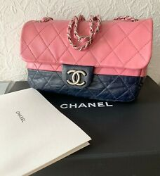 Authentic 2008 Classic Flap Quilted Bicolor Bag Navy And Pink