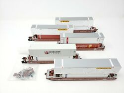 Athearn 5925 Gunderson Maxi-iii Bnsf Well Car 5 Unit Set With Containers