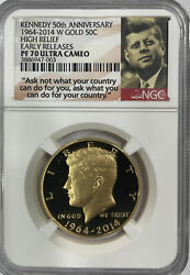 2014-w Early Releases Kennedy Gold 50th Anniversary High Relief Proof Ngc Pf70