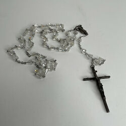 Sterling Silver Rosary With Clear Crystal Beads Religious Catholic Italy Vintage