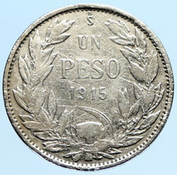 1915 Chile Condor Bird Antique Old Large Silver South American Peso Coin I97319