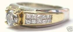 Round Solitaire Princess Cut Accent Two-tone Engagement Ring Solid 14kt Gold