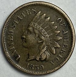 1859 Indian Head Cent Vf+ Condition First Year U.s Type Rare Carat Coin