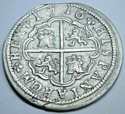1716 Xf Spanish Silver 2 Reales Genuine Antique 1700s Colonial Cross Pirate Coin