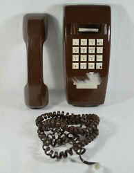 Vtg Chocolate Brown Atandt Wall Mount Hanging Push Button Dial Phone Traditional