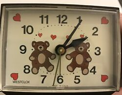 Vintage Westclox Alarm Clock Brown Bear Twins Dialite Red Hearts Square Works