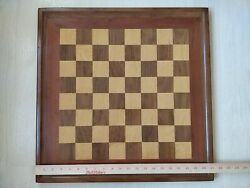 Rare Vintage 21 Wood Chess Board Only With Raised Border Large 2 Squares Brown