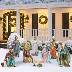 3ft 3 Inches 100cm Indoor / Outdoor 9 Piece Handcrafted Christmas Nativity Set