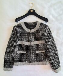 Women 17b Collection Tweed Jacket Black Grey Green Zipped Used Size Fr 42