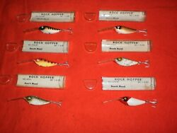 6 Vintage South Bend 676 - 1/4 Oz. Rock Hopper Lures W/display Box And Papers