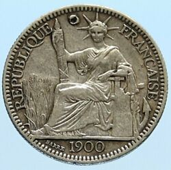 1900 A French Indo-china Antique Silver 10 Centimes Coin France Republic I96587