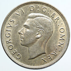 1937 Great Britain United Kingdom W Uk George Vi Large Silver Crown Coin I96649