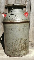 Midwest Amish Antique Metal Milk-cream Dairy Can Stellaand039s Cheese Co. Heavy.