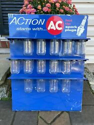 Vintage 1970and039s Ac Spark Plugs Parts Display Rack Sign 24andrdquo Dealer Service Station