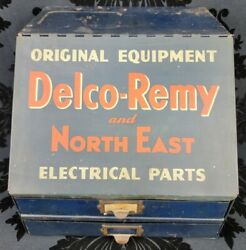 Vtg Delco-remy Tin Store Display Cabinet Advertising Sign Gas Oil