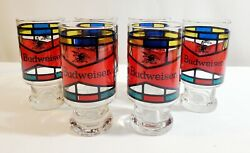 Vintage 1970s Budweiser Party Pack Set Of Six Stained Glass Beer Glasses