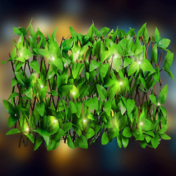 Expandable Trellis Hedge With Solar Lights- Rectractable Artificial Ivy Fence