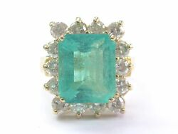 Gem Colombian Green Emerald And Natural Diamond Yellow Gold Jewelry Ring 6.06ct