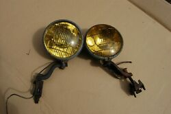 Pair Vintage Ford Unity Fog Lights 5 3/4andrdquo With Brackets. Lens Unity 9165 U.s.a