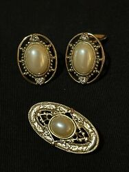 Vintage Faux Pearl Clip On Earrings And Brooch Lot