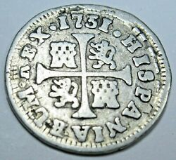 1731 Double Struck Spanish Silver 1/2 Reales Piece Of 8 Real Old Treasure Coin
