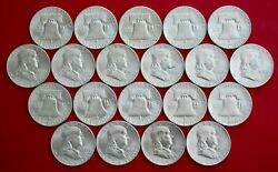1949-s Gem Bu Roll Franklin Half Dollars All Look 63 And Abovenot Cleaned/rubbed