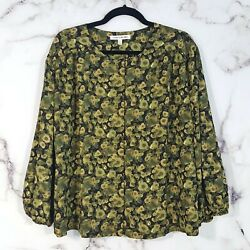 Elizabeth and James Womens XL Green Floral Button Front Top Shirt Blouse $34.99