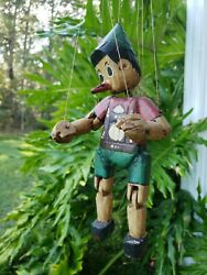 Vintage Carved Wood Wooden Marionette Puppet Disney Pinocchio 10
