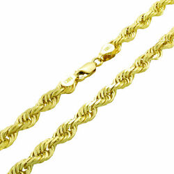 10k Yellow Gold Genuine Mens Solid Thick 6mm Diamond Cut Rope Chain Necklace 26