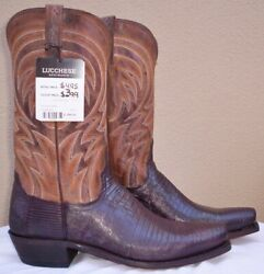 Lucchese Antique Tan Armadillo Teju Lizard Skin Style M2904 Size 12 D