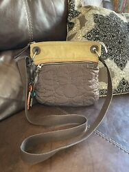 Fossil Crossbody Bag Key Per Brown Quilted Floral Fabric Canvas Purse $18.00