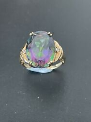 9 Carat Gold Mystic Topaz Ring Uk Size O Large Oval Faceted Stone