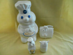 New In Boxes 1998 Pillsbury Doughboy Cookie Jar Napkin Holder And Salt And Pepper