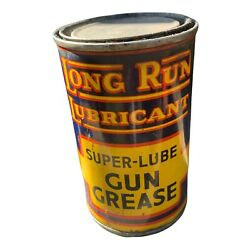 Vintage Oil Can Long Run Lubricant Super Lube Gun Grease