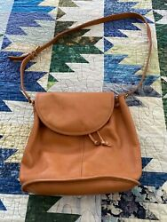 Vintage Coach Bucket Drawstring Sling Crossbody Brown Leather Bag MADE IN USA $85.00