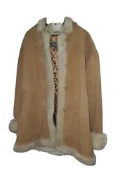 Brown Suede And Fur Heavy Winter Button Up Jacket With Hood