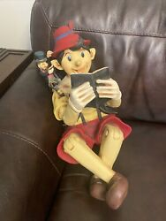 Vintage Pinocchio Statue With Jiminy Cricket On His Shoulder Disney Character