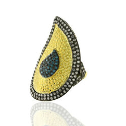 1.31ct Diamond 18kt Gold 925 Sterling Silver Victorian Look Ring Fashion Jewelry