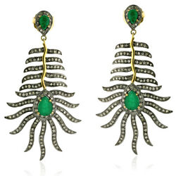 1.8ct Pave Diamond Emerald Designer Dangle Earrings Gold Sterling Silver Jewelry