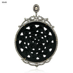 86.4ct Black Onyx Diamond 18kt Gold 925 Sterling Silver Pendant Carving Jewelry