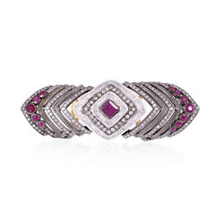 18k Gold Sterling Silver 2.55ct Pave Diamond Ruby Armour Knuckle Ring Jewelry